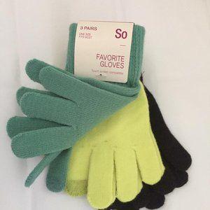 Women gloves, 3 pairs